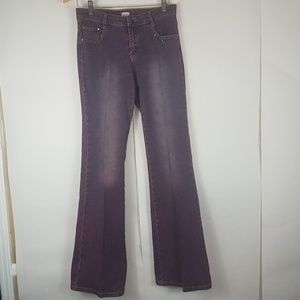 Cache purple washed out flare jeans rhinestones